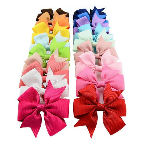 40 Renkler Çocuklar Kızlar için Saç Yaylar Saç Pin Çocuk Saç Aksesuarları Bebek Hairbows Kız Klipleri ile HairBows Çiçek HairClip