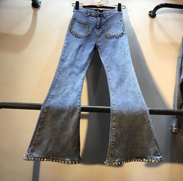 Jeans À Clous Femmes 2019 Printemps Nouveau Lourdes Perles Diamant Taille Haute Micro Corne Élastique Jeans Filles Étudiants Denim Pantalon Pantalon