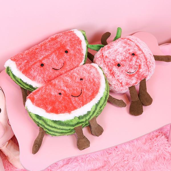 Kawaii Creative Soft Stuffed Plush Toys Pillow for Sofa Bed Decoration Cute Frutis Watermelon/Cherry Cushion Baby Toys Girls