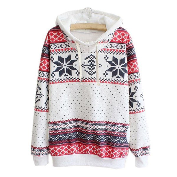 New Fashion Christmas Theme Women Snow Geometric Printed Hoodie Sweatshirt Jumper girl ladies autumn winter Hooded Pullover