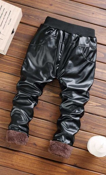 good quality 2019 Winter Girls Pants Fashion Leather Trousers Toddler Girls Skinny PU Leggings Kids Casual Thicken Velvet Clothing