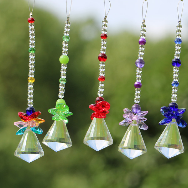 10PCS 40mm K9 Crystal Suncatcher Beads Pendant Hanging Crystals Lamp Prisms Chakra Chandelier Crystals Parts Rainbow Maker WQM171
