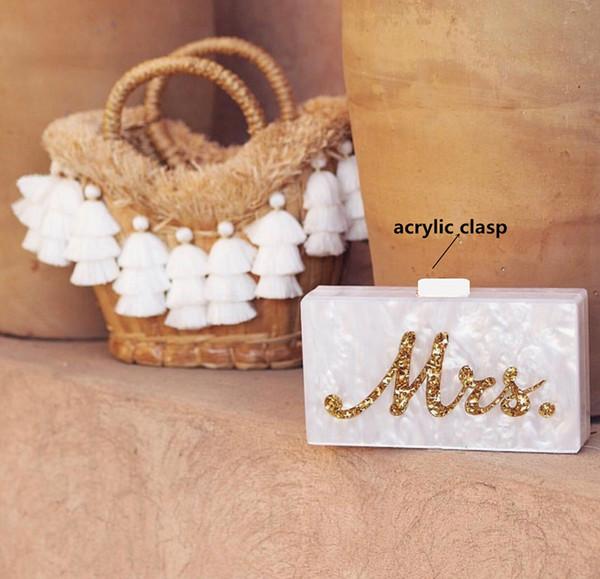 Ins venta caliente caja de acrílico embragues mujeres señora noche marca bolsa blanco perla con plata brillo Glitter oro nombre señora letra Y190626