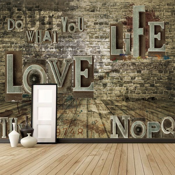 Customized European Retro 3D Stereoscopic Relief Brick English Alphabet Wall Paper Bar Restaurant Living Room Mural Wallpaper