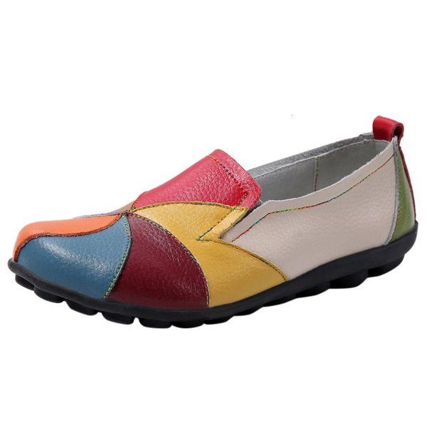 Ethnische Art Ankle Boots Frauen Large Size Leder Patchwork-Farbabstimmung weiche Sohle Short Booties Retro Krankenschwester flache Schuhe