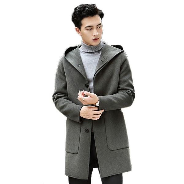 AYUNSUE Real Wool Coat Autumn Winter Jacket Men Hooded Double-side Woolen Coats Streetwear Trench Coat Chaqueta Hombre MY2046
