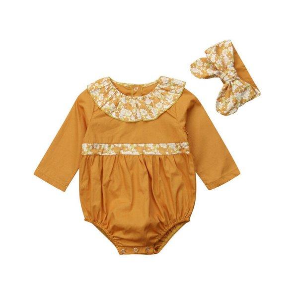 Newborn Baby Girl Infant Floral Long Sleeve Ruffle Bodysuit Jumpsuit Headband Autumn 2Pcs Outfit Clothes set