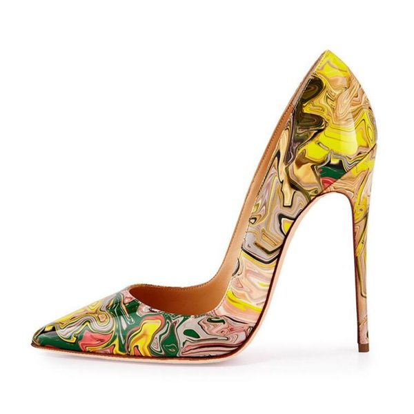 2019 sexy fashion trend high heels print party dress stiletto heels for women