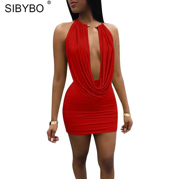 YIBO Backless Halfter Mini Sommerkleid Frauen Ärmelloses Metallkragen Schulterfrei Zweiteiler Kleid Kurze Sexy Bodycon Kleid party