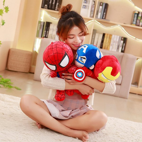 1pc 25cm Soft Stuffed Super Hero Captain America Iron Man Spiderman Plush Toys The Movie Dolls for Kids Birthday Gift