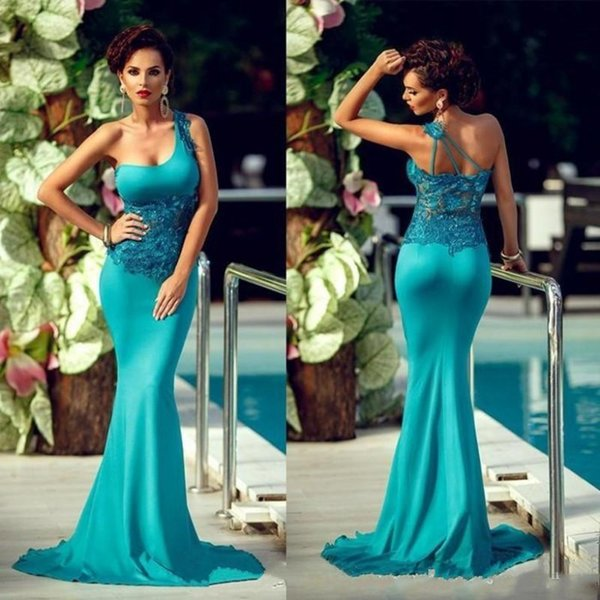 New Designer One Shoulder Mermaid Jade Prom Dresses Long 2019 Lace Appliques Tight Evening Gowns Cheap Celebrity Party Dress