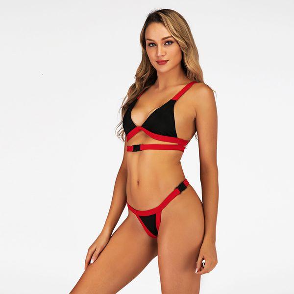 2019 Maillots de bain taille basse Boucle de ceinture Bikini Set Femmes Sexy Blanc / Rouge High Cut Maillot de bain Maillot de Bain String Swim Beach Wear