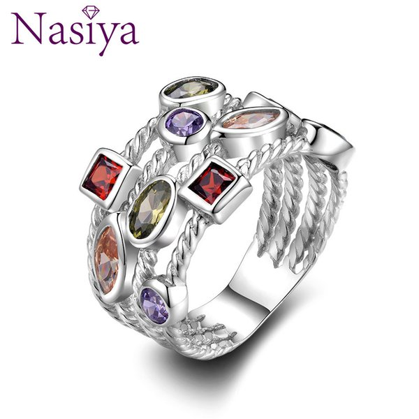 Nasiya Fashion Colorful Gemstone Vintage Rings For Women Sterling Silver 925 Jewelry Ring Anniversary Birthday Gift For Mother T190703