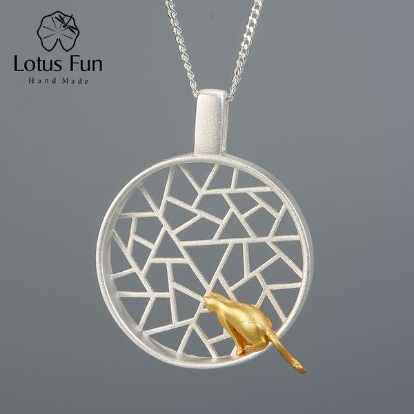 Lotus Fun real prata esterlina 925 Handmade Projeto Fine Jewelry bonito 18k Cat ouro jogando pelas Pendant janela sem colar