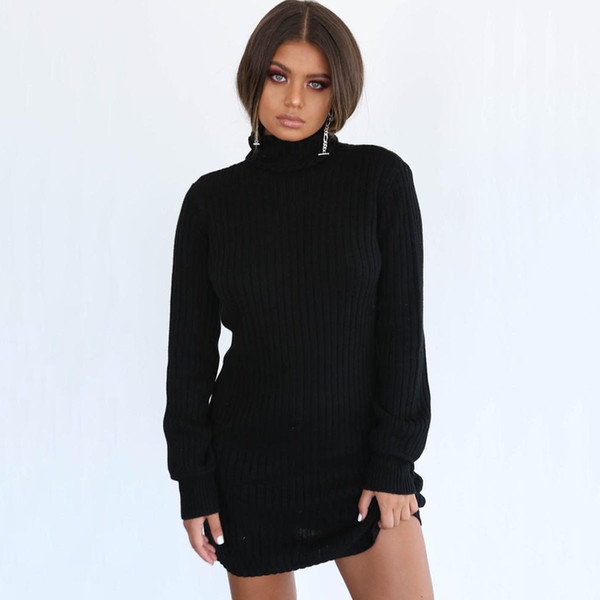 Europe and the United States explosion models fashion solid color pits lanterns sleeves high collar bag hip sweater dress female