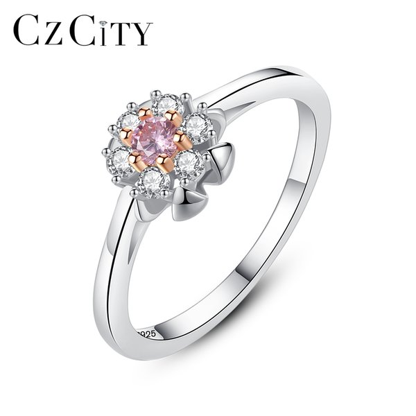 PAG&MAG Ring 925 Sterling Silver Flower Shape Clear Color New Arrival Small Style For Women Finger Fashion Jewelry Unique