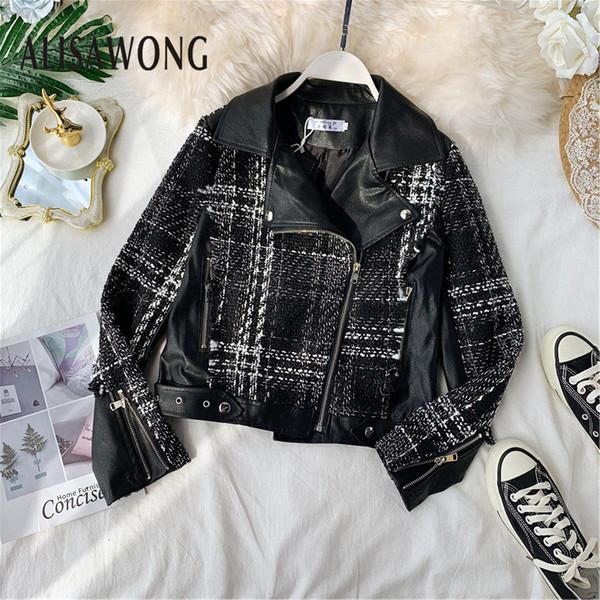 2019 autumn wimter new fashion turn-down collar patchwork tweed pu leather jacket women zipper asymmetric slim lezther coats
