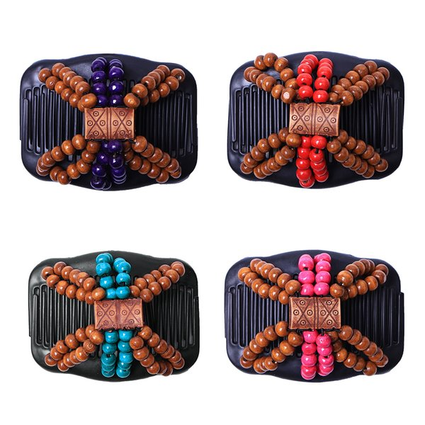 Vogue Retro Double Beaded Hair Magic Comb Clip Wood Beads Elasticity Hairpin Stretchy Hair Combs Pins for Women Accessories