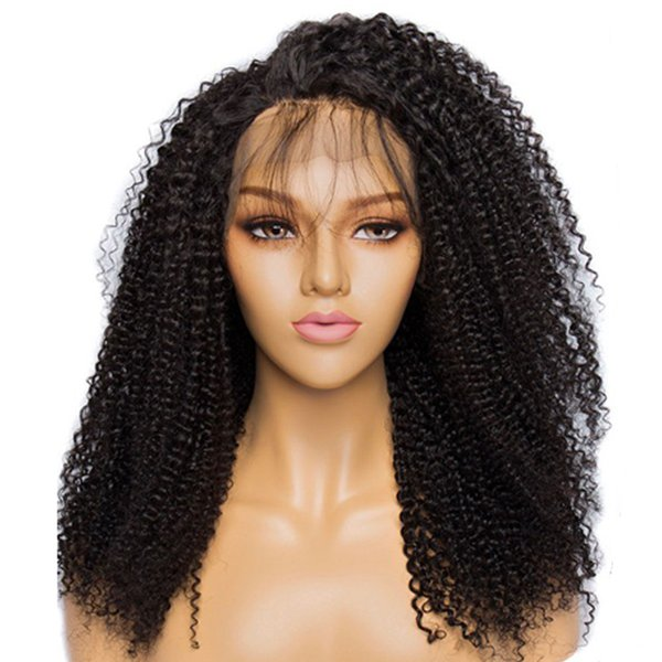 Spring Curly Lace front wig 100% Indian Remy Hair Wigs Natural Black kinky curly wig human hair wig free shipping
