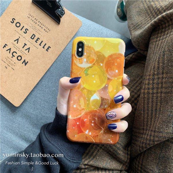 Orange Colour Lemon Yellow Oil Painting INS Fashion Cell Phone Case for iphone7/6 x/xs/ Max /xr Suitable for Silicone Cell Case