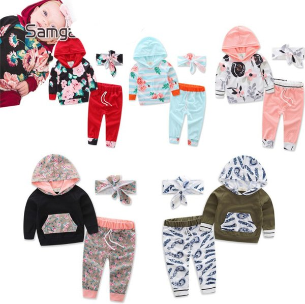 INS hot sell children floral outfits hoodies tops with pants 2pcs set kids clothes suit 35 styles newborn baby toddler infant outwear