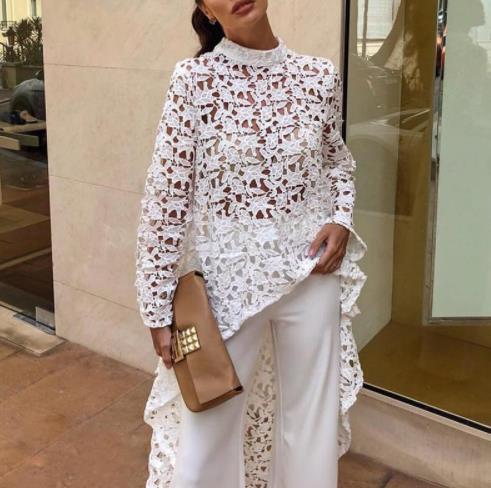 2019 Yaz Sonbahar Kadın Moda Zarif Rahat Patchwork flounced Dip Hem Üst Tığ Düzensiz Bluz See Through Oymak