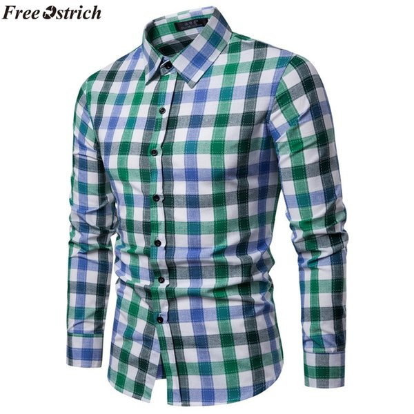 FREE OSTRICH Men's Fashion Slim Long Sleeve Plaid Shirt Lapel Casual Coloured Checked Shirt Male Clothing Comfort Top Plus Size