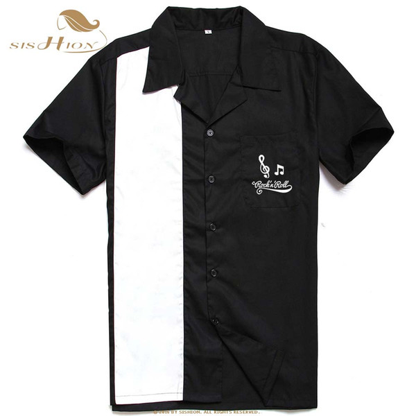 SISHION L-3XL Camisa de talla grande para hombre ST126 Verano de manga corta bordado Negro Red Rockabilly Bowling algodón camisas casuales para hombres