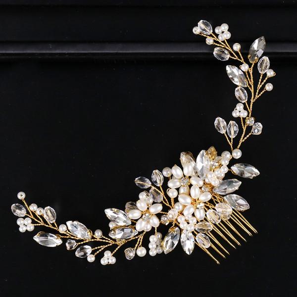 Wedding Bridal Bridesmaid Combs Tiaras Silver Handmade Rhinestone Pearl Headbands Luxury Hair Accessories Headpiece Tiara Jewelries Z12