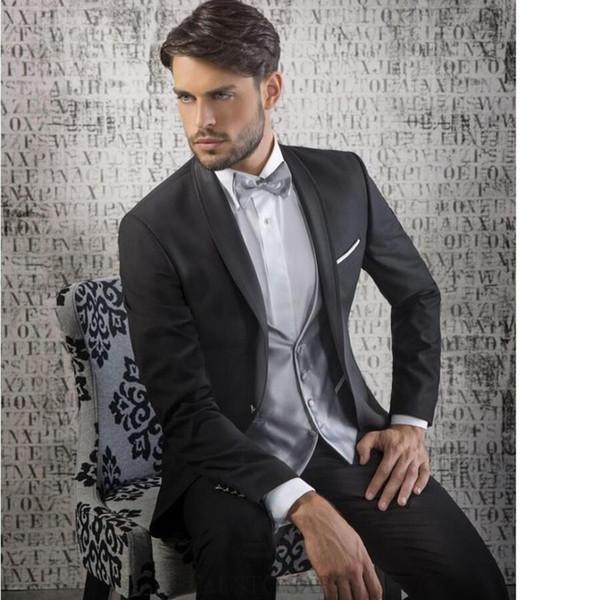 Sıcak satmak erkekler suit Siyah Damat Smokin Şal Yaka En İyi Erkek Düğün Noel Balo Yemeği Takımları (Ceket + Pantolon + Yelek + Kravat)