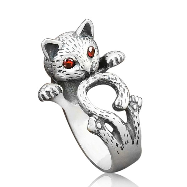 Vendite calde Vintage Argento antico colore Red Eye Lucky Cat Girl Anello donna Animal Ring Hippie Kitten Jewelry