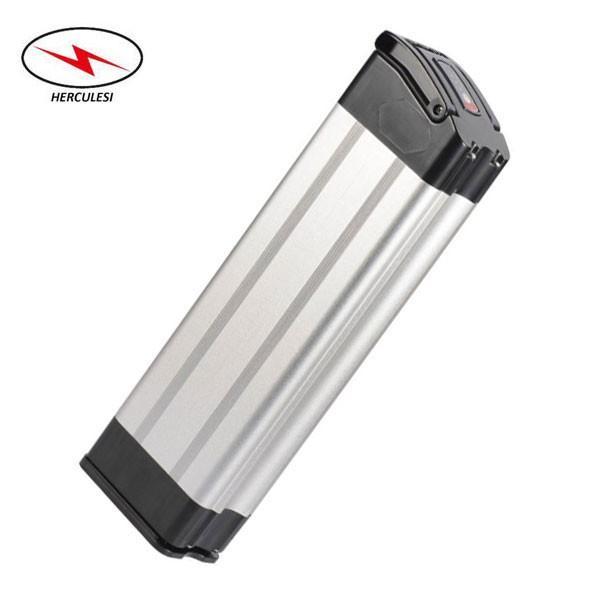 Type de poisson argenté Batterie de vélo électrique 12ah batterie au lithium 36V dans cellule 18650 avec boîtier en aluminium chargeur 15A BMS 2A