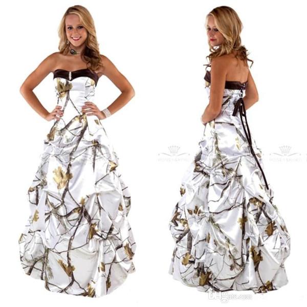 Discount Sweetheart White Camo Wedding Dresses 2020 Draped Skirt