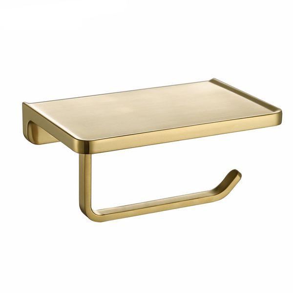 Brushed Gold Toilet Paper Holder Wall Mount Tissue Roll Hanger Phone Platform Wall Mount Bathroom Hardware Accessories Set