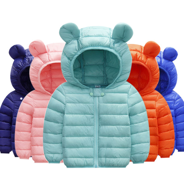 best selling Boys Winter Coat Light Kids Jacket Hooded solid Cotton Jackets Toddler outfit baby girl boy clothes