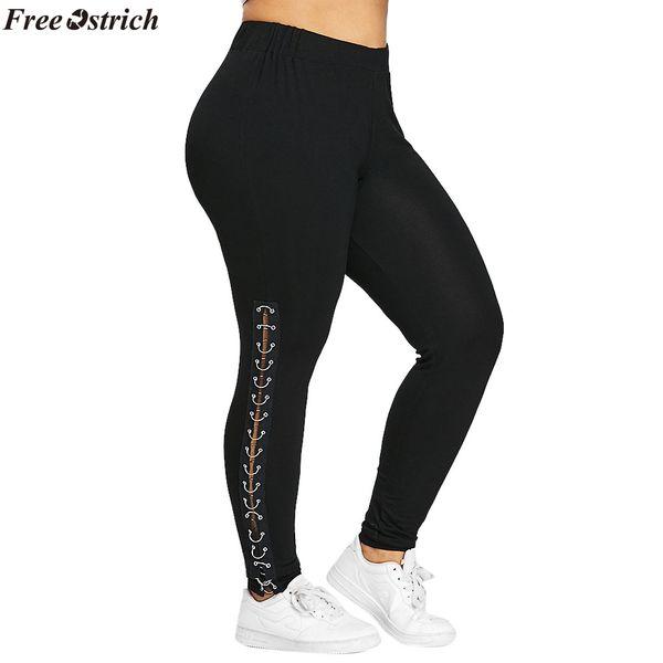 02350ce354cb79 FREE OSTRICH Women Pants Plus Size Womens Side Lace Up Leggings Trousers  Hollow Out Casual Fashion Pants L-XXXXXL dropship