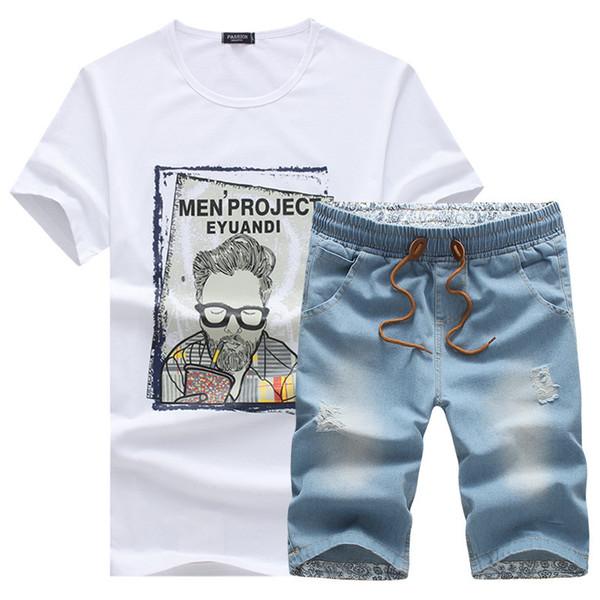 2018 New Jeans Men's Shorts Elastic Band Men Summer Clothes Fashion Brand Male Short Pants Set Large Size 5xl C19041102