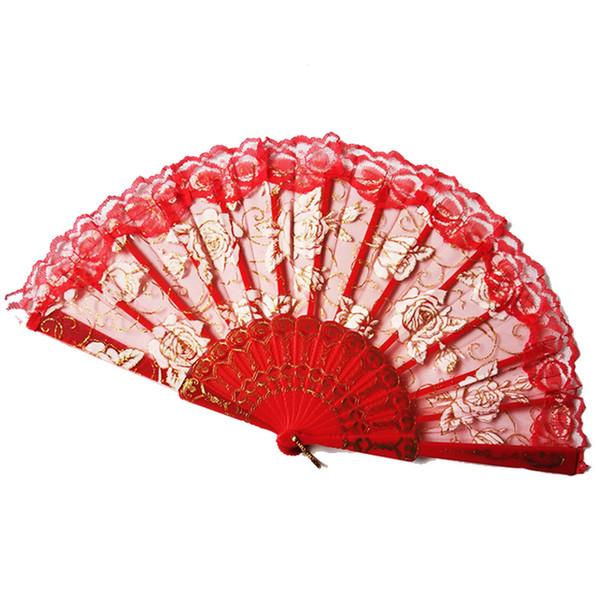 Rose Flower Hand Fan 10 Colors Spanish Lace Folding Hand Held Dancing Party Fan 50pcs OOA7041
