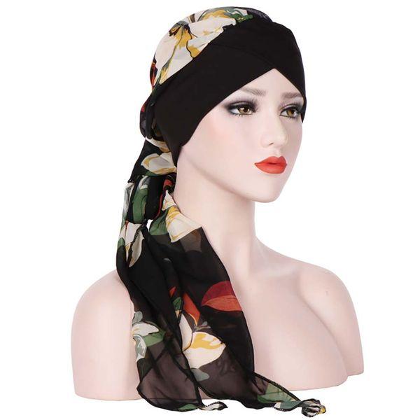 Fashion-Mode muslimische Frauen Turban-Hut mit Blumenmustern Long Tail Cap Headwrap trendy