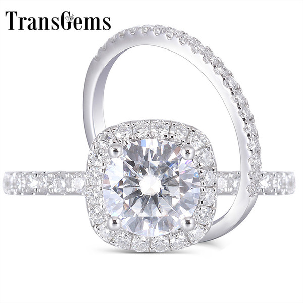 Transgems 14k White Gold 2ct 8mm F Color Moissanite Engagement Ring Wedding Band Bridal Set Two Pieces J 190427