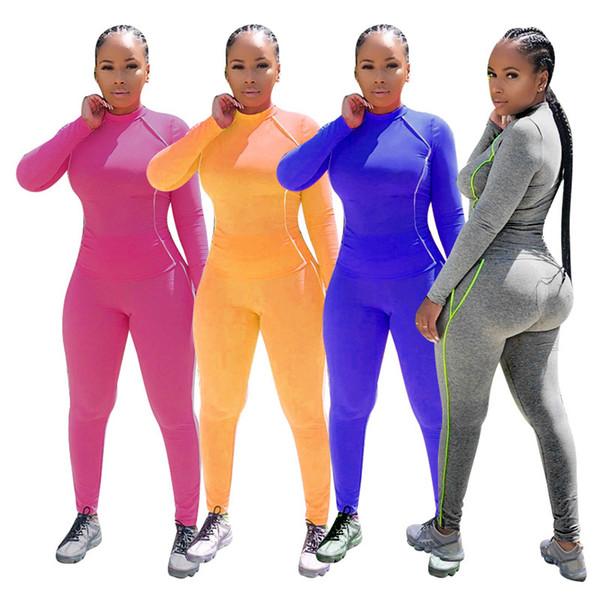 Vêtements pour femmes tenues à capuche manches longues Ensemble 2 pièces femmes survêtement de jogging collants sweat-shirt de costume de sport costume automne costume de sport klw2533