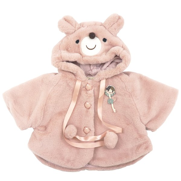 2018 Winter cotton wool pure color princess casual all-match super warm Cape coat with cute bear cap for cute sweet baby boys