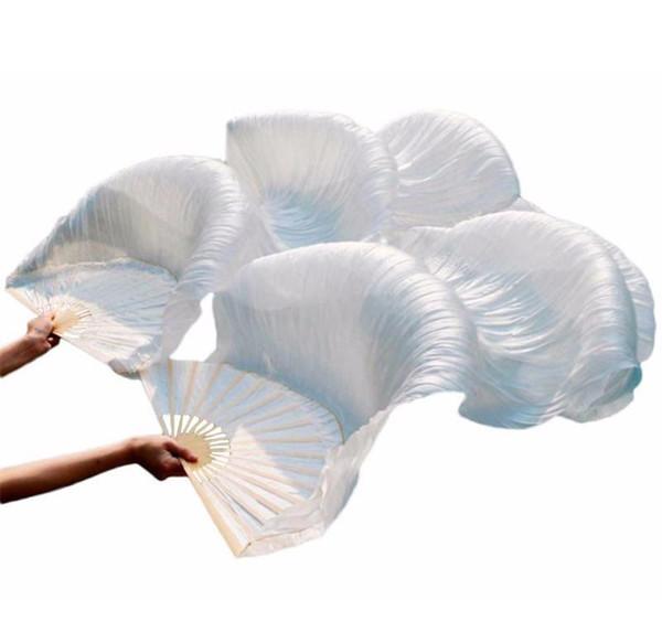 ventilateur chaud vente 100% soie unisexe de haute qualité soie chinoise Veil fans 1pair Belly Dance fans Vente Hot Pure White