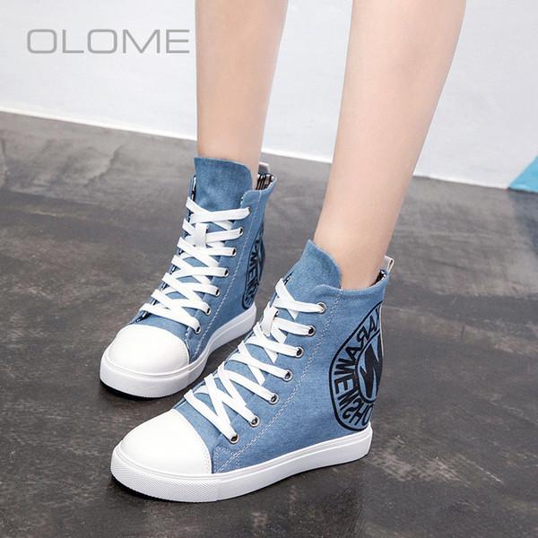OLOME Wild invisible haut de gamme à l'intérieur des chaussures en toile pour femmes chaussures à lacets respirant nouvelles femmes