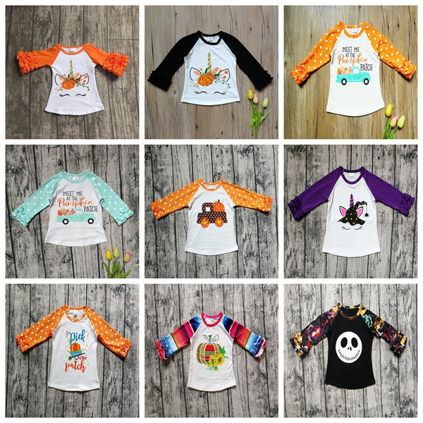top popular Halloween Kids T-shirts Polka Dot Ruffle Tops Childrens Print Pumpkin Cotton Tees Baby Clothing Long Sleeve Shirts GGA2641 2021