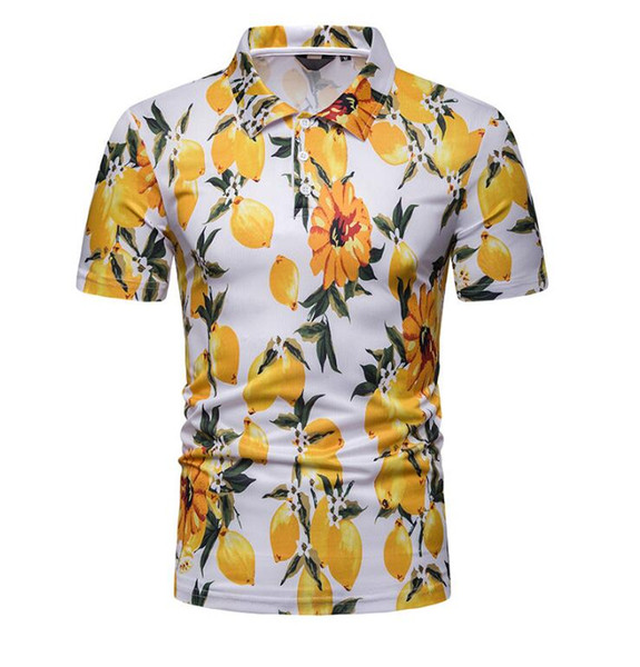Pólo Camisa Dos Homens 2019 Moda Verão Praia Estilo de Impressão Meia Manga de Algodão Respirável Polo Magro Ocasional Dos Homens Polos