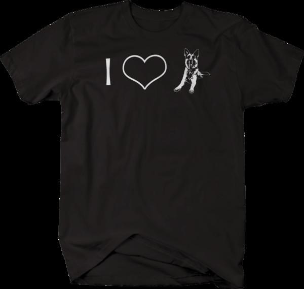I Love German Sheppard dog Tshirtdenim clothes camiseta t shirt