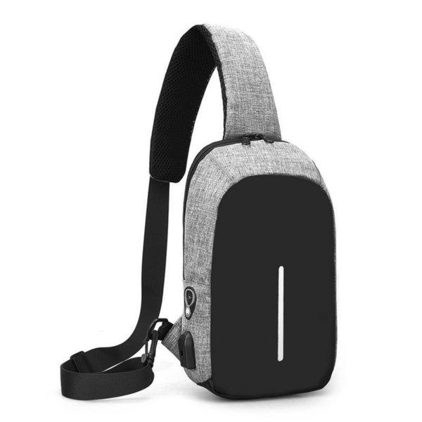 Casual Chest Bag Outdoor Riding Sports Chest Charging Earphone Hole Crossbody Bag Shoulder Messenger Canvas Men Boys Hiking Bags