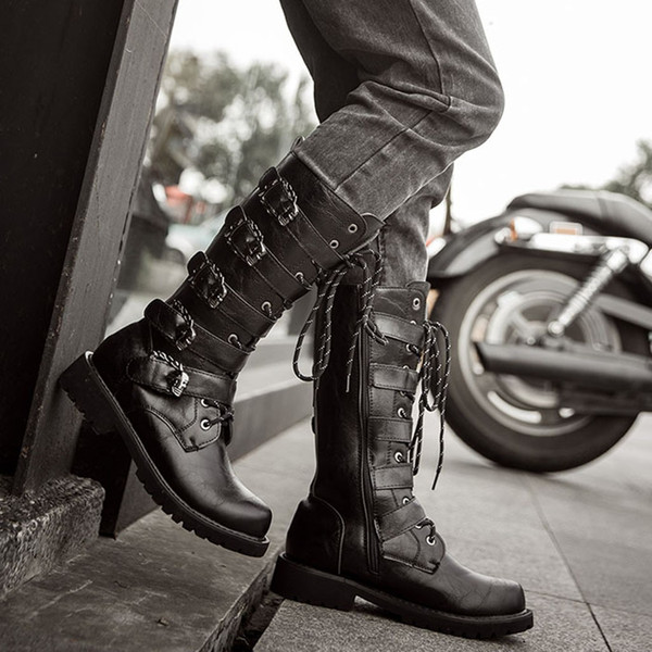 Combat-Boots Boot-Flat-Low-Heel Mens Flat Lace Up Westerm Combat Boots Buckles Motorcycle Boots Snow Boots Streetwear