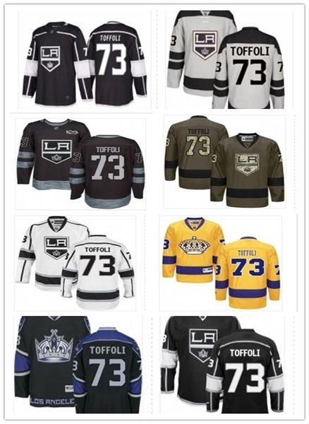 2019 Custom Any Name Number Los Angeles Hockey Jersey Green 73 Tyler Toffoli Men / WOMEN / YOUTH King Game Worn Hockey Jersey Shirt